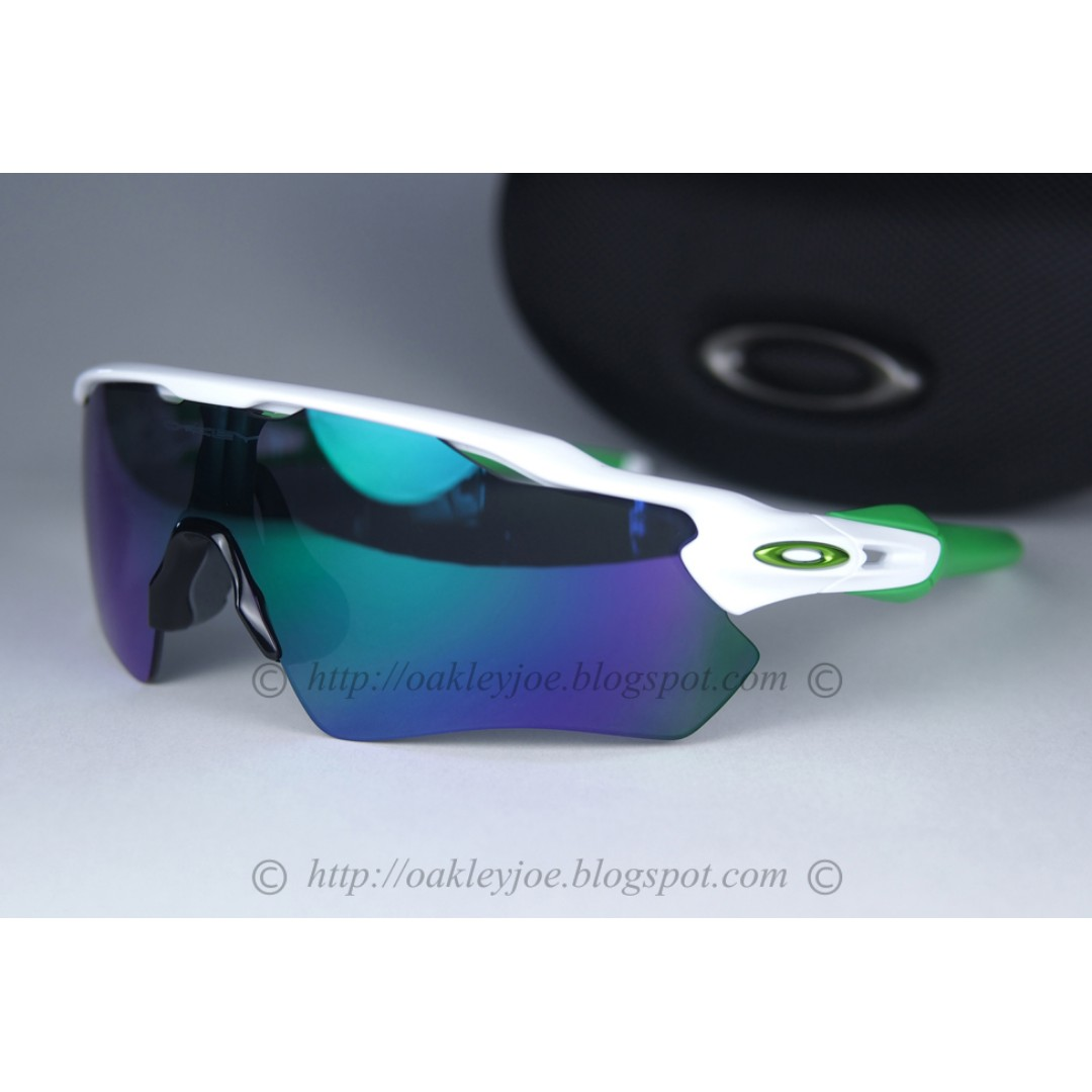 95eb79b919 BNIB Oakley Custom Radar EV polished white + jade iridium sunglass ...
