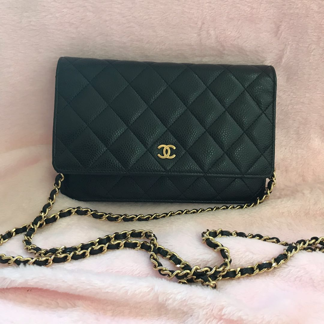 431de6ea69a7 Chanel WOC wallet on chain black caviar ghw
