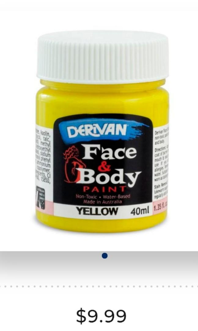 Derivan face and body paint yellow blue pink green