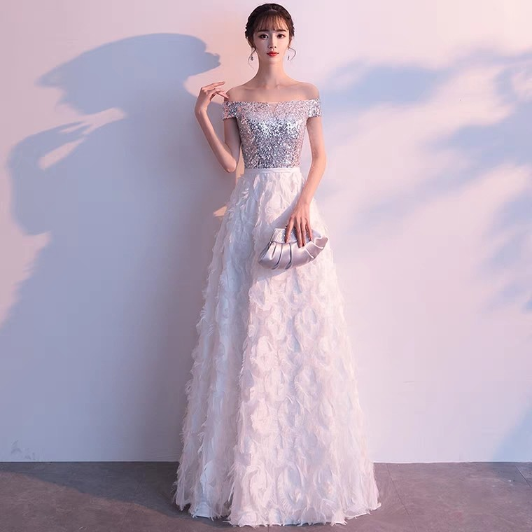 3a8ac17a074 Dual tone white feather sliver sequin off shoulder dress   Evening ...