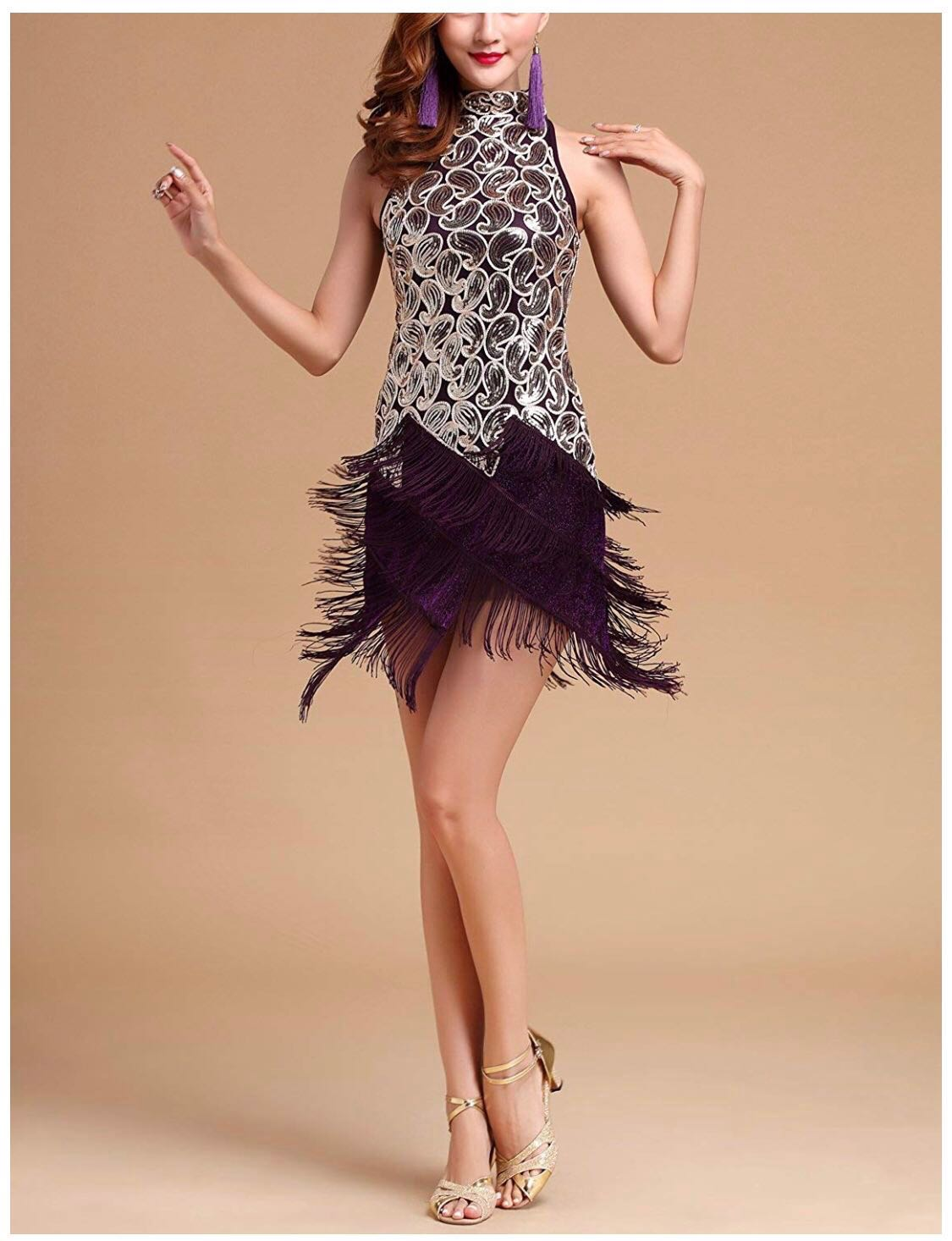 6583862c Gatsby Theme Roaring 1920s 20s Sequin Tassel Paisley Flapper Girl Costume  Dress, Women's Fashion, Clothes, Dresses & Skirts on Carousell