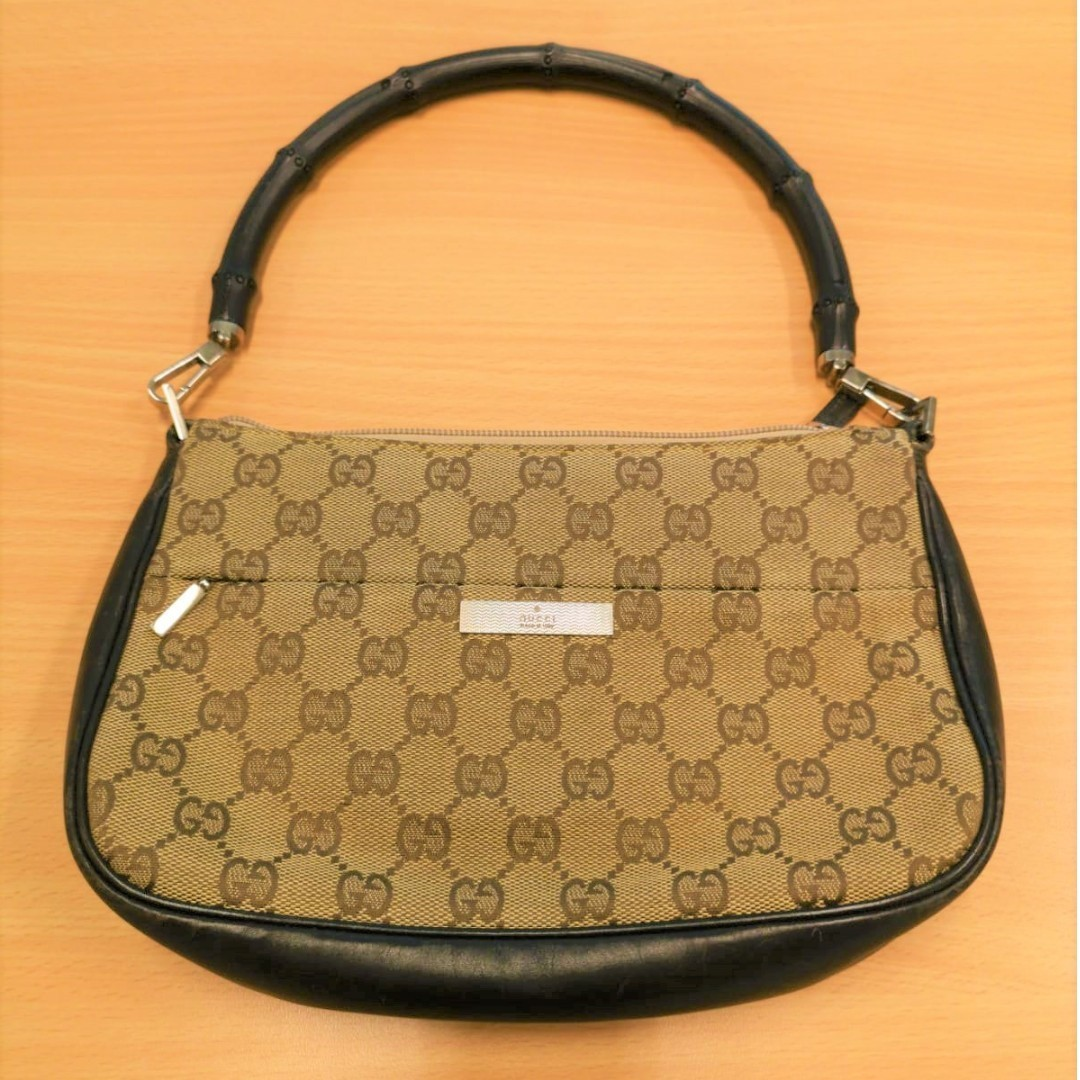3147bcaf9e1 GUCCI Brown Leather GG Monogram Canvas Bamboo Bag