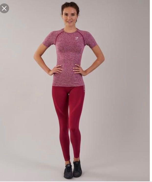 96b8d9796fc Gymshark Vital Seamless T-Shirt - Beet Red (Size M), Sports, Sports ...