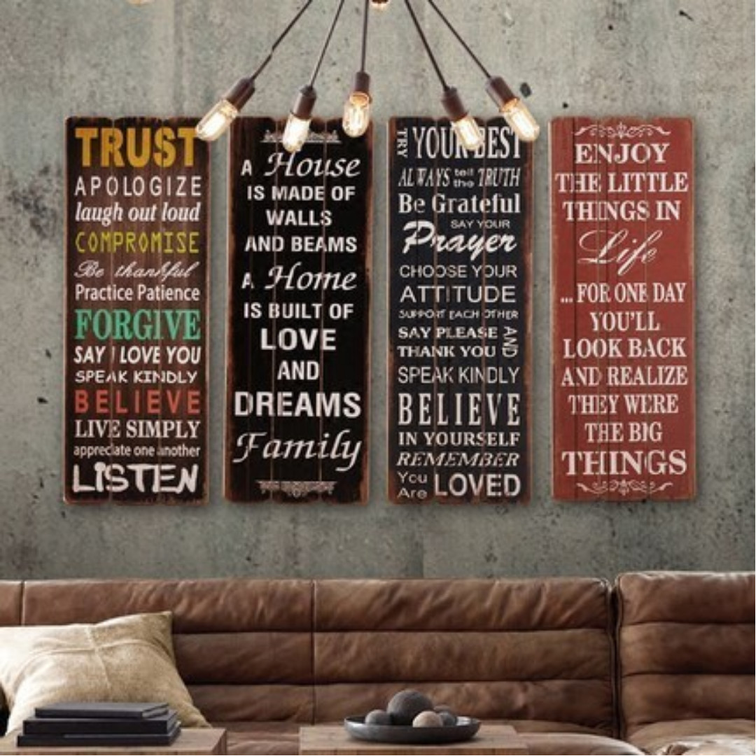 Inspirational Quotes On Wood Retrovintage Poster 3080