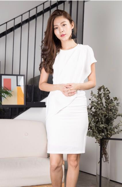 7b3b4be3 Lbrlabel Rena corporate dress in white, Women's Fashion, Clothes, Dresses &  Skirts on Carousell