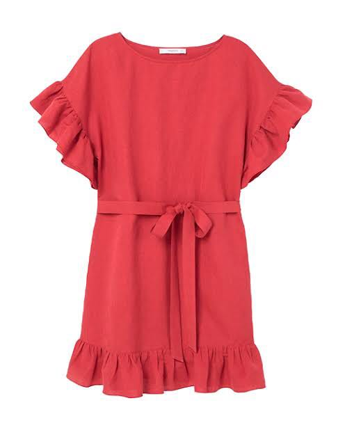 02580e4794 Mango red linen dress