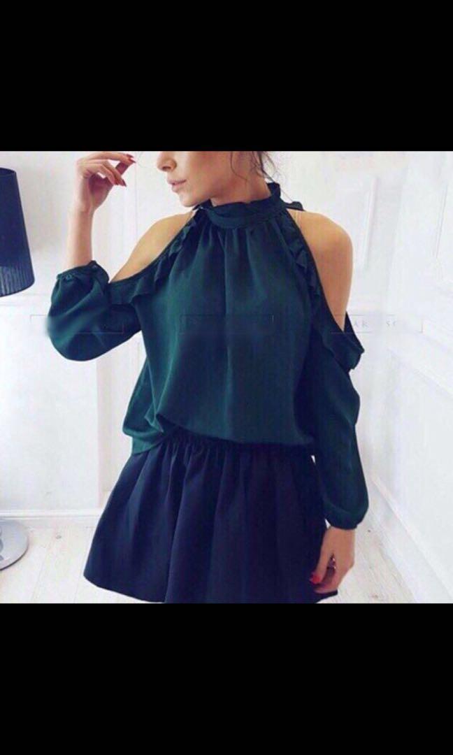 48fa855a1b73d Off shoulder blouse - dark green