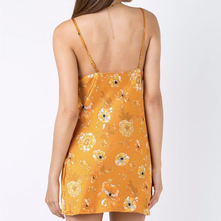 bff3e783b2a princess polly silky floral yellow cowl neck slip dress
