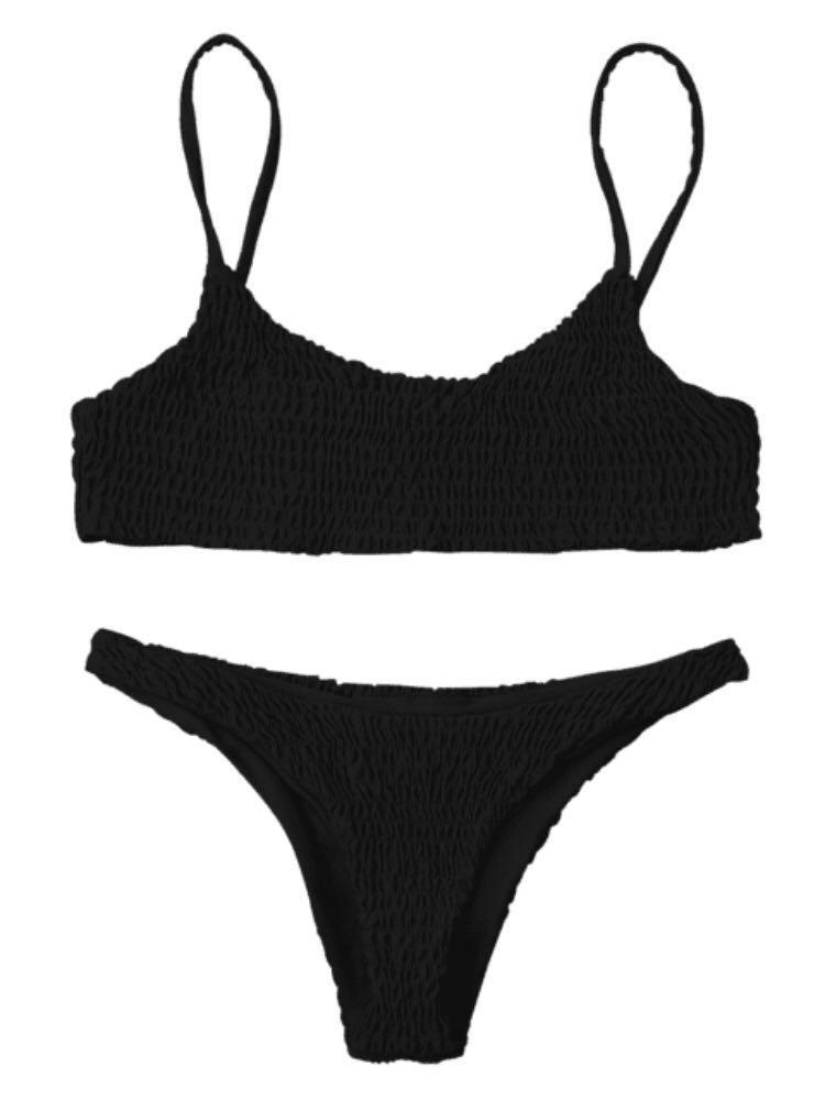 Smocked bikini top and bottoms