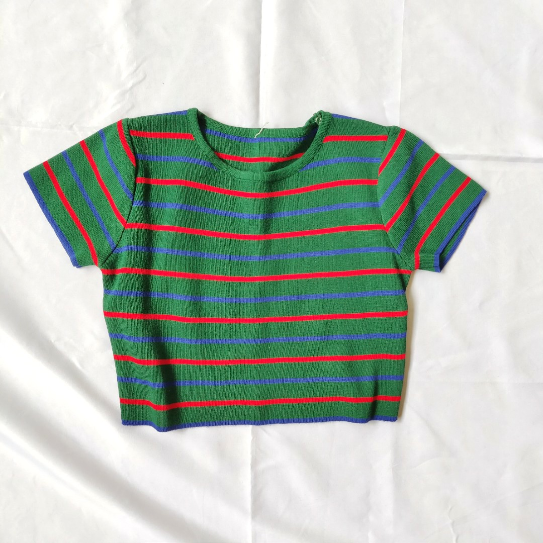 89c3c713c0d629 Striped Green Crop Top, Women's Fashion, Clothes, Tops on Carousell