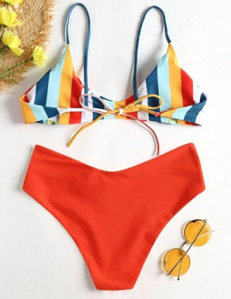 Striped Red Bikini Top and bottoms
