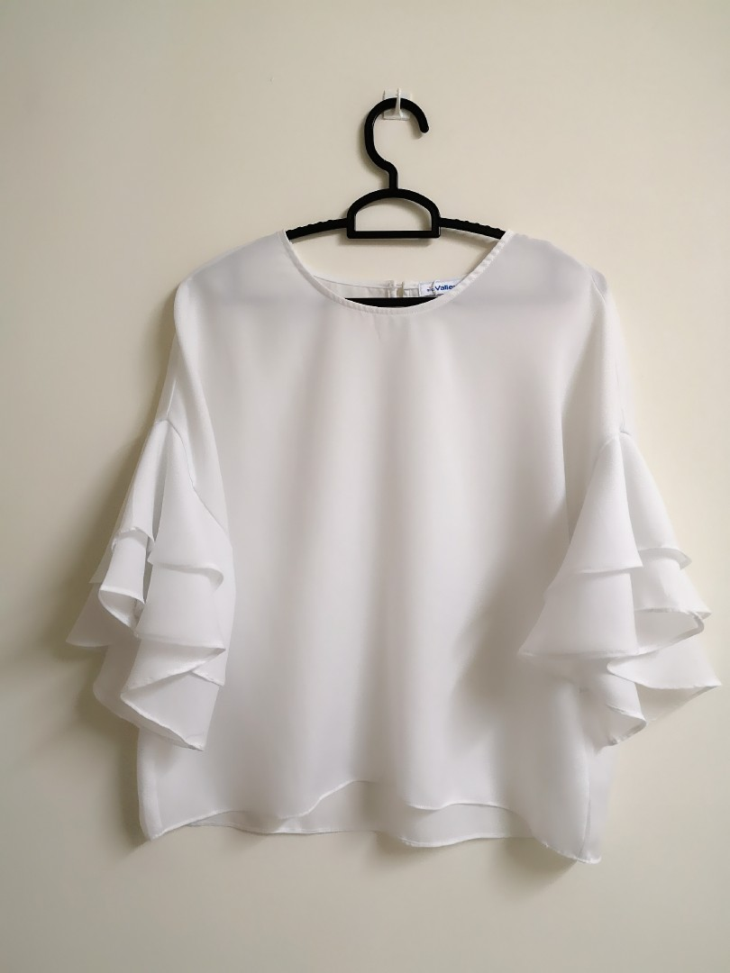 518ea0d2ff4f20 30%disc!! White Blouse with frilled sleeves  next30