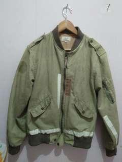 Jaket bomber army peacock