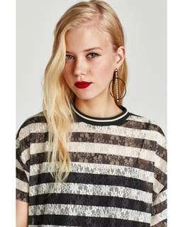 Zara Stripe Lace Top