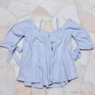 🚚 ZARA Baby blue stripe cold shoulder top #ENDGAMEyourEXCESS
