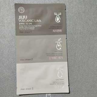 brand new the face shop jeju volcanic lava 3 step deep cleansing nose strips (: