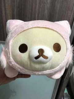 "Limited Edition 13"" San-X Laying Rilakkuma Korilakkuma Cat Costume Bear Figurine Plush Stuffed Soft Toy Pillow Cushion"