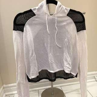 White hoodie with mesh detailing
