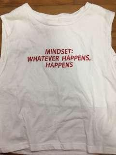 white shirt with red words