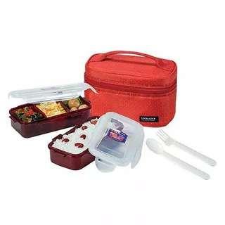 LOCK & LOCK LUNCH BOX 2pcs dengan tas dan sendok garpu