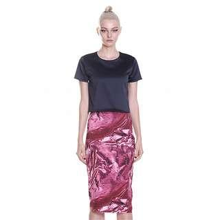 By Johnny| Pencil Skirt | Stunning Pink Metal Graphic Print | RRP: $225 !