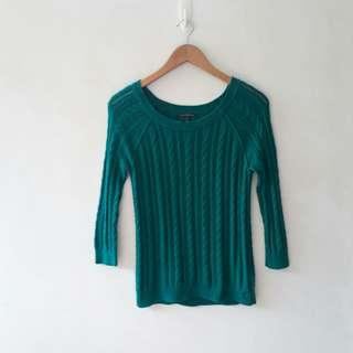 American Eagle Sea green cable knit top