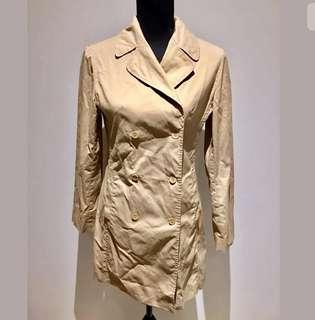 Witchery sz 8 brown women long trench coat jacket pockets cotton blend work