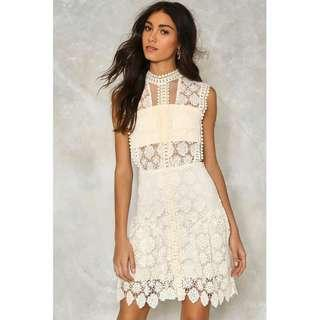 BNWT| Nasty Gal Laguna Crochet Dress in Cream, Sold out! Size L.