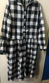 Checkered Long Sleeves Dress