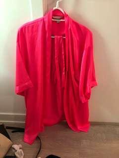 Victoria's Secret hot pink silk robe M/L