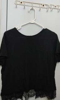 F21 Black Shirt w/ Lace trim