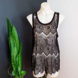 Women's size L 12-14 Gorgeous black lace tank top - AS NEW