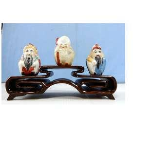 Vintage Chinese ceramic Deities Fu Lu Shou wood stand