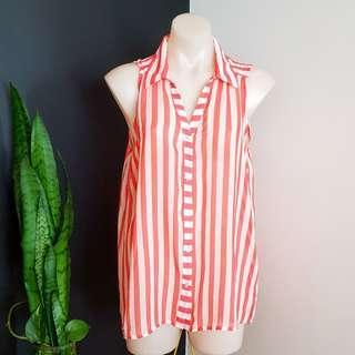 Women's size L 12-14 Gorgeous orange and white striped sleeveless shirt - AS NEW