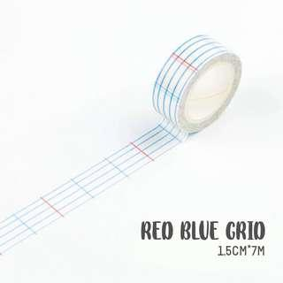 🚚 [PO] red blue grid washi tape