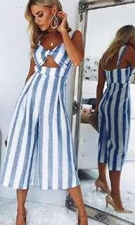 Backless Striped Jumpsuits Women Wide Leg