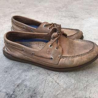 Sperry Topsider Brown Cream size 45 Need Deep Clean