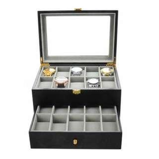 🚚 20slots black matte wooden watch/ jewelry storage watchbox with glass display (BRAND NEW)