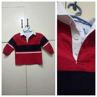 MA211 Red Polo Sweatshirt for Boys 1 to 2 YO - see pics for flaw