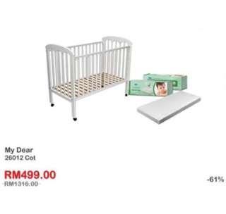 My Dear 26012 Baby Cot + Comfy Baby Mattress