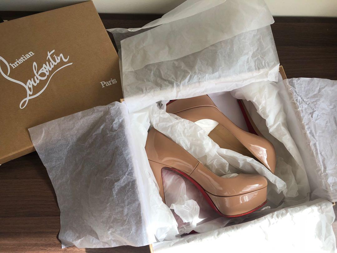 100% AUTHENTIC CHRISTIAN LOUBOUTIN NUDE BIANCA PUMPS 120mm HEELS