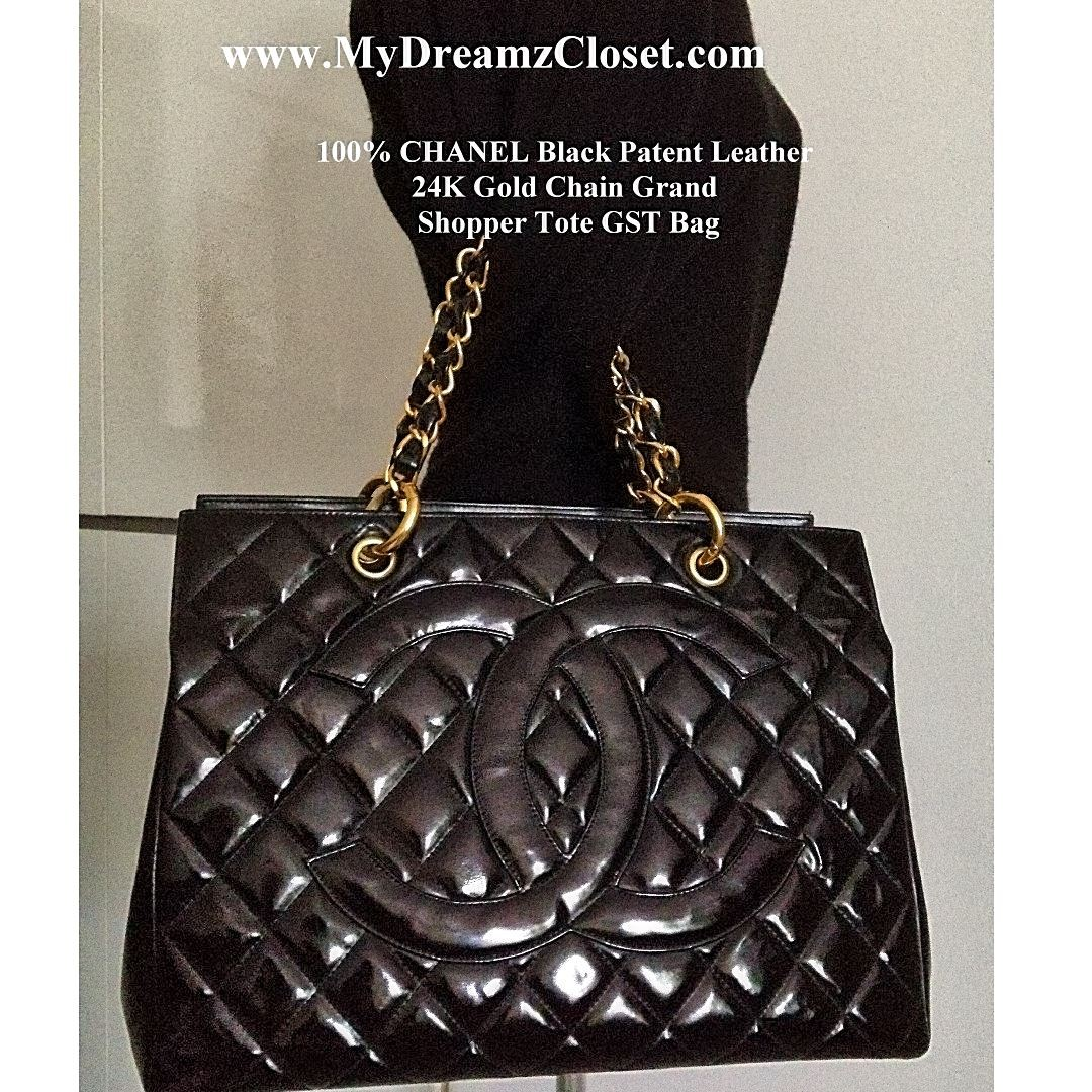 04320797576c 100% CHANEL Black Patent Leather 24K Gold Chain Grand Shopper Tote ...