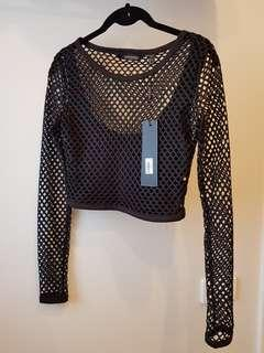Netted cropped top with long sleeves