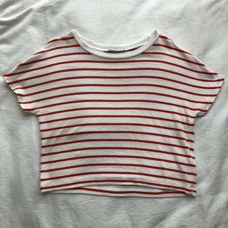 ZARA Orange-White Striped Crop Top (BN)