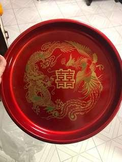 [in stock] wedding red dragon and phoenix with double xi happiness
