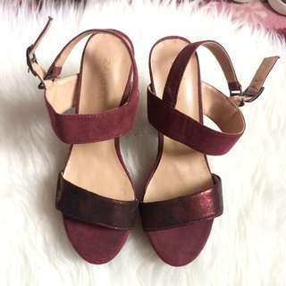 Zalora red wine heel