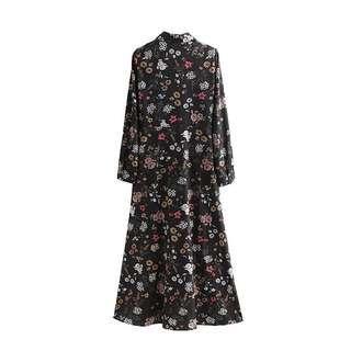 Floral print offie work midi dress