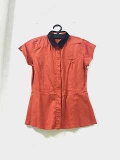 Kemeja Peplum Orange