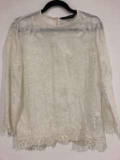 Authentic Zara embroidered white long sleeve top