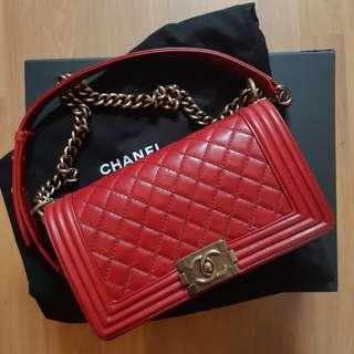 Boy Chanel in red calfskin with antique gold hardware (old medium) #XMAS25